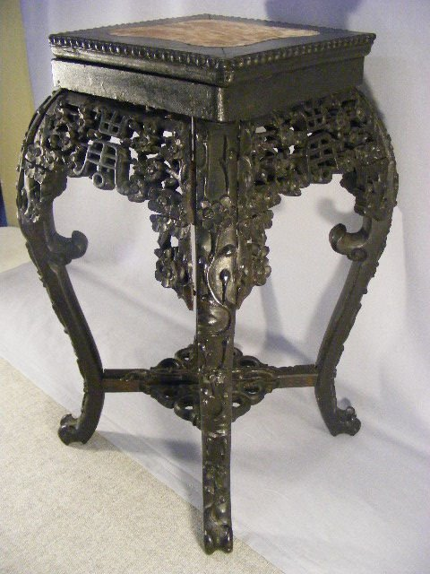 10L: Carved oriental plant stand with marble insert, so - 2