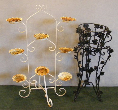 16L: Two wrought iron plant stands, mid 20th century, 3