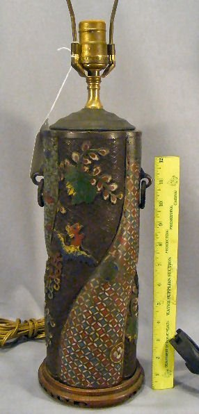 "23E: Antique cloisonne vase mounted as lamp, 16"" high t"