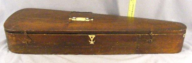 "242Z: Antique wood violin case with bone hardware, 32"""