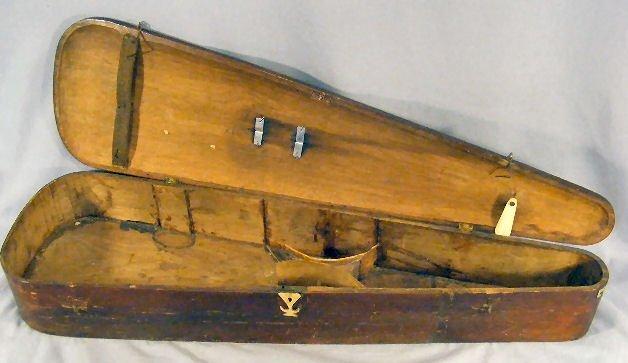 "242Z: Antique wood violin case with bone hardware, 32""  - 6"