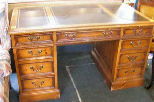 263h Sligh Lowry Pine Desk Leather Top Front Heavi