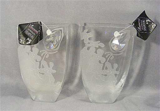 53n Pair Of Diamond Collection Vases W Swarovski Crys