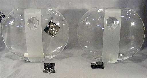 54n Pair Of Diamond Collection Vases W Swarovski Crys
