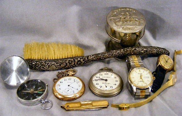125Y: Sterling handled bush, Waltham pocket watch, St.