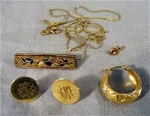 138J 14k gold necklace broken Victorian pin earrin