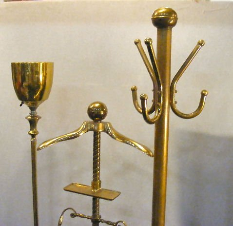 161L: Antique brass coat rack, brass clothes rack, bras - 2