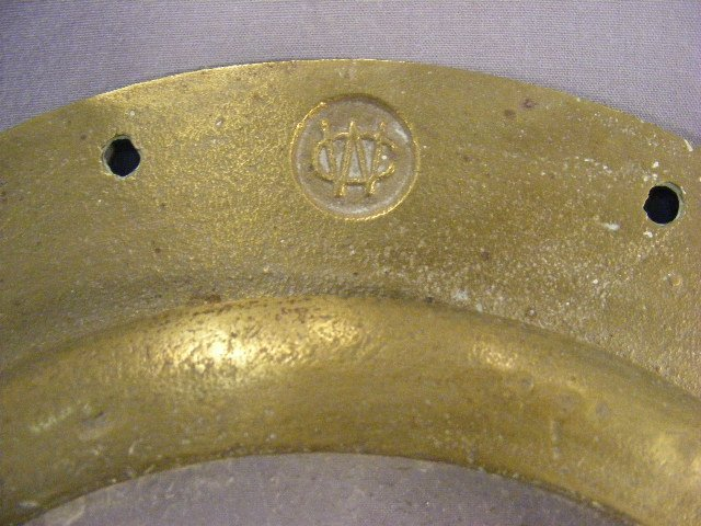 """99N: Brass & glass porthole, marked CW an """"8"""", missing  - 2"""