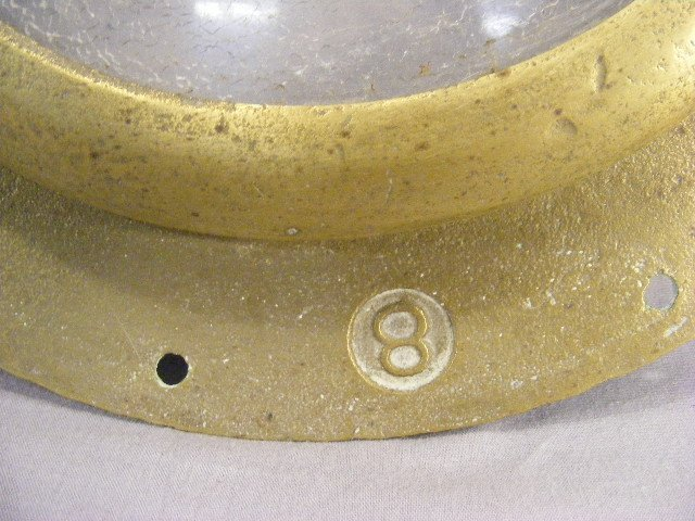 """99N: Brass & glass porthole, marked CW an """"8"""", missing  - 3"""