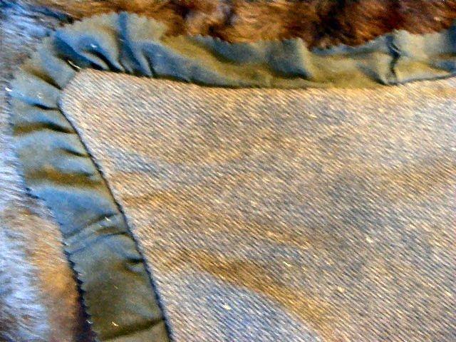 "166B: Early 1900's bear skin sleigh/ auto blanket, 57""  - 4"