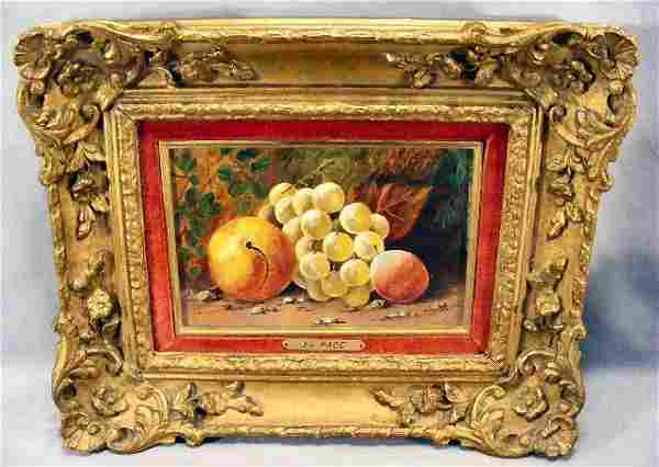 Oil on canvas, Still life of fruit, signed J.L. P