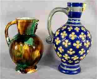 """Two majolica jugs with Bellermine spouts, 9.75"""" cob"""
