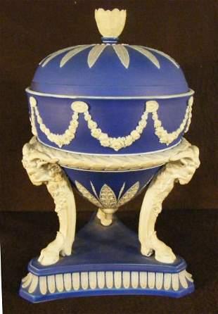 Wedgwood slip covered jar with ram head / hoof legs