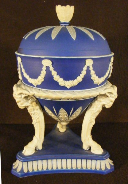 3A: Wedgwood slip covered jar with ram head / hoof legs