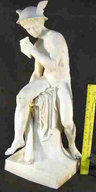 "Large Parian figurine of Mercury, 22"" high, arm bro"