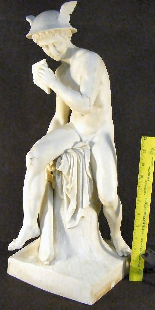"4A: Large Parian figurine of Mercury, 22"" high, arm bro"