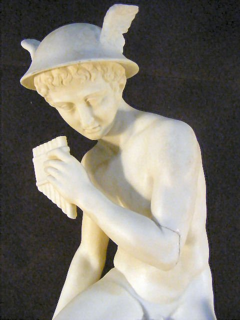"4A: Large Parian figurine of Mercury, 22"" high, arm bro - 2"