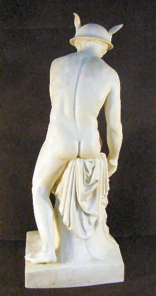 "4A: Large Parian figurine of Mercury, 22"" high, arm bro - 6"