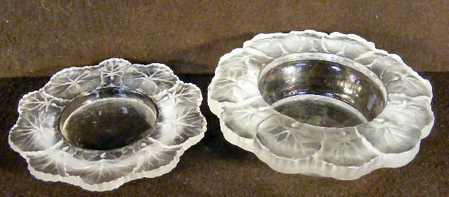 9A: Two relief molded art glass bowls with leaf borders