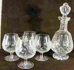 Waterford Lismore crystal footed decanter and four