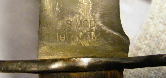 "14E: WWI Bolo knife marked ""U.S. Mod. 1917 C.T."" and ""P - 8"
