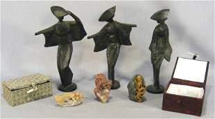 "Lot of three iron oriental figurines, 9.5"" high to"
