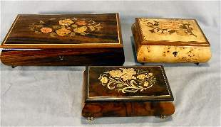 Lot of three decorated wood music boxes, largest w