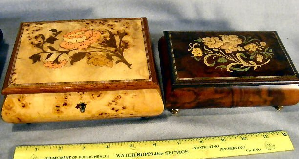 17E: Lot of three decorated wood music boxes, largest w - 2