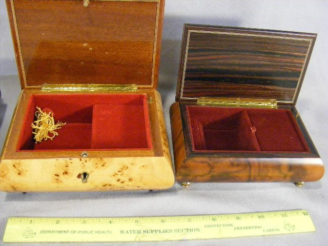 17E: Lot of three decorated wood music boxes, largest w - 3