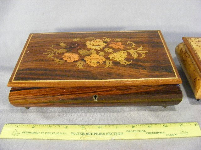 17E: Lot of three decorated wood music boxes, largest w - 4