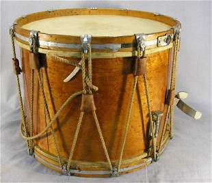 """Drum labeled """"Henry Eisele Bass and Snare Drums Ne"""