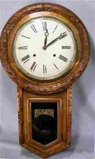 "Oak regulator clock, refinished, tin dial, 27"" lon"