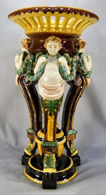 "22E: Majolica pedestal, 20"" high, excellent condition,"