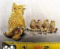 89D Two 14K gold pins owl pin with two rubies and bir