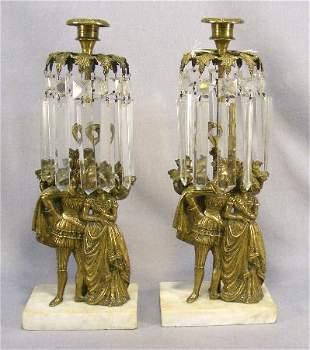 "Pair of brass Victorian girandoles, 14.25"" tall"