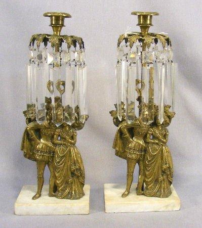 "5G: Pair of brass Victorian girandoles, 14.25"" tall"
