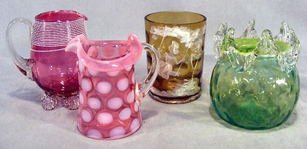 9D: Misc. lot of art glass including Mary Gregory tumbl