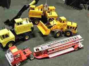Tonka trucks, 4pcs. 1970's 3930 Shovel, Loader, Cr