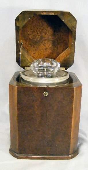 "Burlwood tea caddy with glass jar insert, 11"" high"