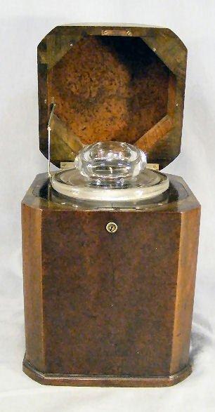 "15B: Burlwood tea caddy with glass jar insert, 11"" high"
