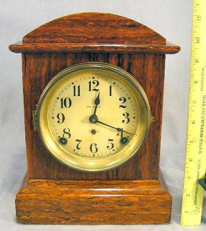 "16B: Seth Thomas Adamantine clock, 11"" high, condition"