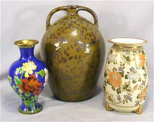 Lot of three vases including Nippon, cloisonne and