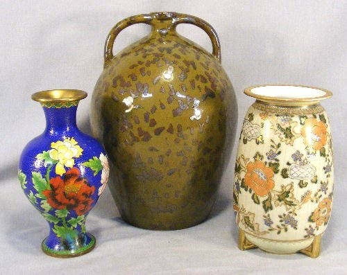 20B: Lot of three vases including Nippon, cloisonne and