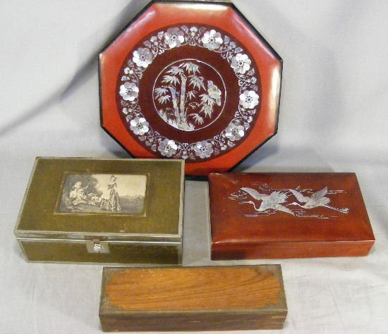23B: Lot including two mother of pearl inlaid boxes, ro