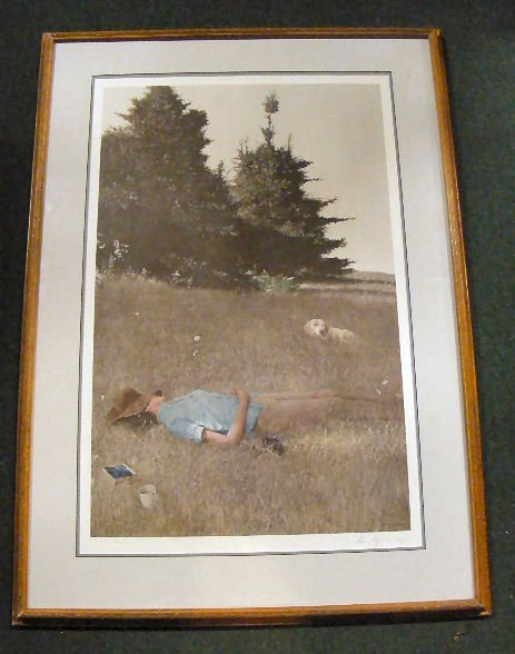 159Z: Andrew Wyeth pencil signed print, Distant Thunder