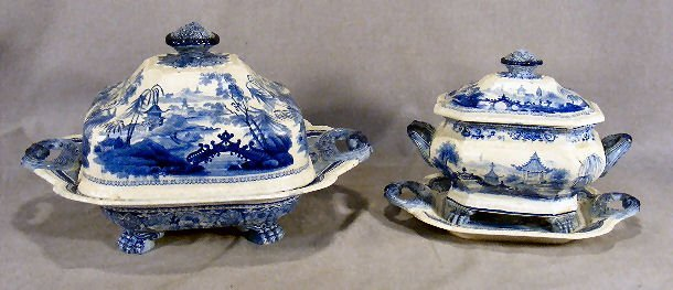 """163X: Two pieces romantic Staffordshire """"Chinese Pagoda"""