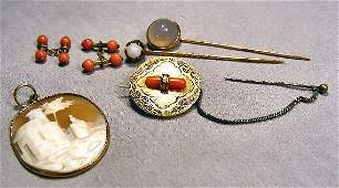 73D Victorian 14K gold jewelry including two stickpins