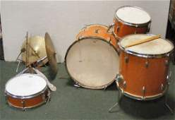 119M: E.W. Kent four piece drum set with cymbals, stand