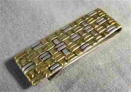 206D: Tiffany & Co. sterling and 18K gold money clip, .