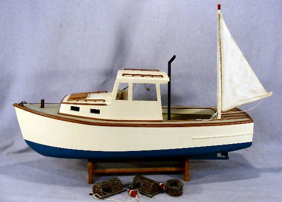 "2A: Model Lobster boat, painted wood with stand, 25"" lo"